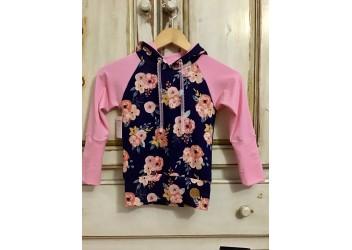 Hoodie fleur marine / rose
