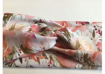 Bandeau croisé fleur rose/pêche