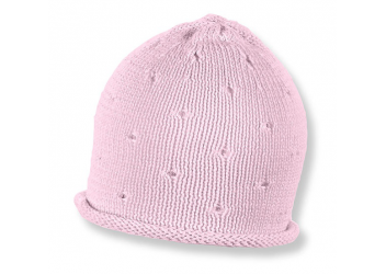 Bonnet tricot rose