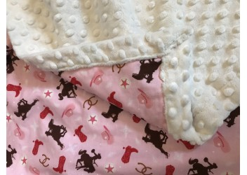 Couverture petite cowgirl rose